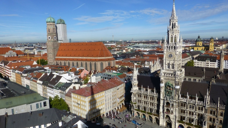 Munich Marienplatz and st. peter's
